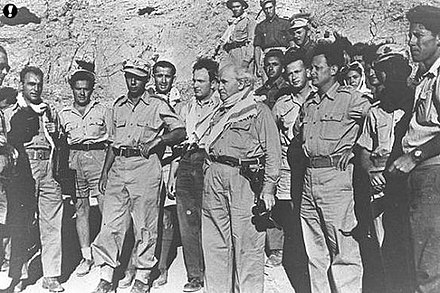 David Ben-Gurion with Yigal Allon and Yitzhak Rabin in the Negev, during the 1948 Arab-Israeli War. Flickr - Israel Defense Forces - Life of Lt. Gen. Yitzhak Rabin, 7th IDF Chief of Staff in photos (17).jpg