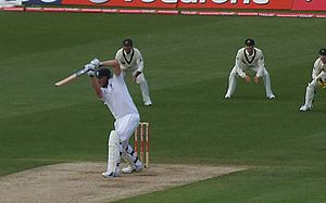All-rounder - Image: Flintoff batting in the 2009 Ashes at Cardiff