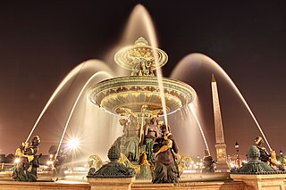 Fontaines de la Concorde fountains in Paris, France