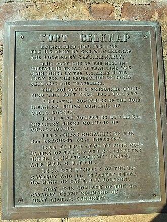 Fort Belknap (Texas) - Image: Fort Belknap History Marker
