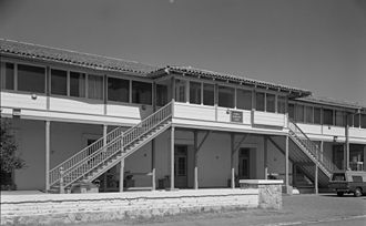 "Fort Ord - Stilwell Hall, the Fort Ord Soldiers' Club in 1992. Stilwell Hall was the largest soldiers' club constructed in the west, in 1943. Named to honor General ""Vinegar Joe"" Stilwell, it was built in Mission Revival style."