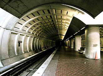 Fort Totten station - Lower level, looking southbound