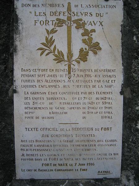 Fort de Vaux - Plaque de la reddition