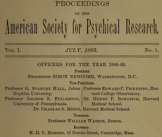 American Society for Psychical Research - Officers for the SPR (1884–1885)