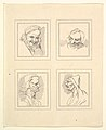 Four Heads (from Characaturas by Leonardo da Vinci, from Drawings by Wincelslaus Hollar, out of the Portland Museum) MET DP824111.jpg