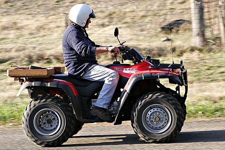 The ATV is commonly called a four-wheeler in Australia, New Zealand, South Africa, parts of Canada, India and the United States. They are used extensively in agriculture, because of their speed and light footprint. Four wheeler.jpg