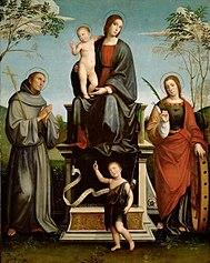 Maria mit Kind , den Hll. Franziskus, Katharina und dem Johannesknaben