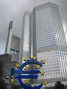 Frankfurt, European Central Bank with Euro.jpg