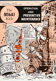 Front cover - the M16A1 Rifle - Operation and Preventive Maintenance (art by Will Eisner)