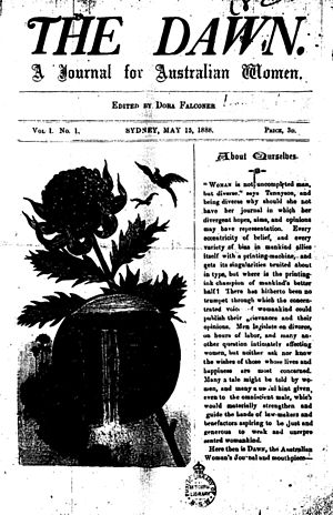 Trove - Front cover of ''The Dawn''  Issue 1, 15 May 1888. The first feminist magazine in Australia.