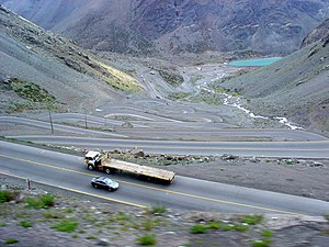 Argentina–Chile border - Road in the border area between Santiago and Mendoza.