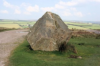 "Froude Hancock - Froude Hancock memorial stone, West Anstey Common, Devon, inscribed: ""Froude Hancock 1865–1933"""
