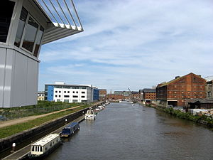 Gloucester and Sharpness Canal - The Gloucester and Sharpness Canal at the entrance to Gloucester docks