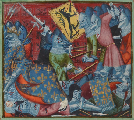 A depiction of French casualties in the Grandes Chroniques de France (c.1390-1401) GCF - Battle of the Golden Spurs.png