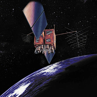GPS satellite blocks - Artist's impression of a GPS-IIR satellite in orbit.