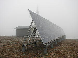 Base station subsystem - A solar-powered GSM base station on top of a mountain in the wilderness of Lapland