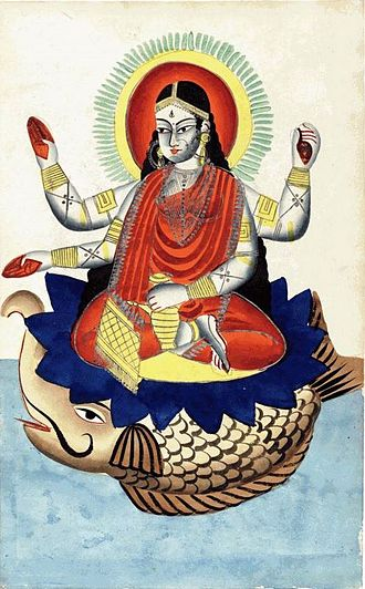 Ganges in Hinduism - Late 19th-century Kalighat painting