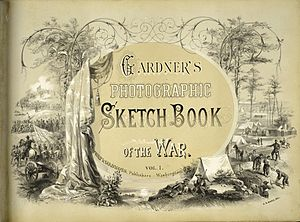 Alexander Gardner (photographer) - Title page of Gardner's Photographic Sketch Book of the Civil War (1866), design by Alfred R. Waud.