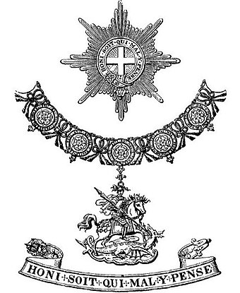 "Top: A Garter ""Star""; middle: A ""Great George"" (St George on horseback slaying the dragon) pendant from the Collar; bottom: the Garter GarterInsigniaBurkes.JPG"