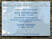 Gedenktafel Brixplatz 9 (Weste) Max Schmeling