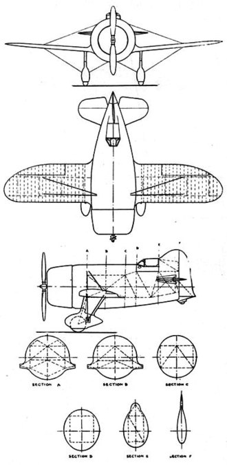 Gee Bee Model R - Gee Bee Super Sportster 3-view drawing from L'Aerophile Salon 1932