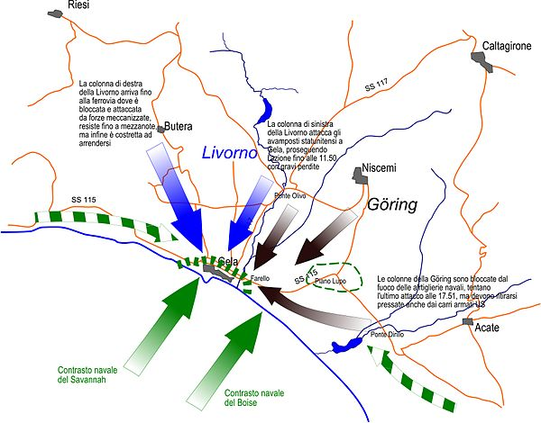 Map of Gela and surrounding area show troop movements. Gela 11 lug 43.jpg