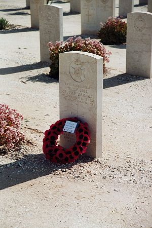 William Gott - Gott's grave at the El Alamein cemetery. The wreath was laid by Squadron Leader Jimmy James and his son.