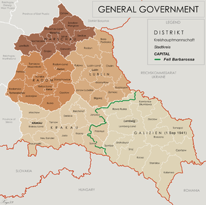 Administrative map of the General Government in August 1941 following Barbarossa. District of Kraków, lower centre