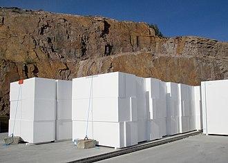 Geofoam - Stacked blocks of geofoam at a construction site