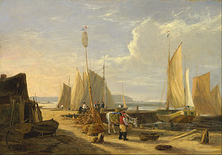 A Harbor Scene in the Isle of Wight, Looking Towards the Needle