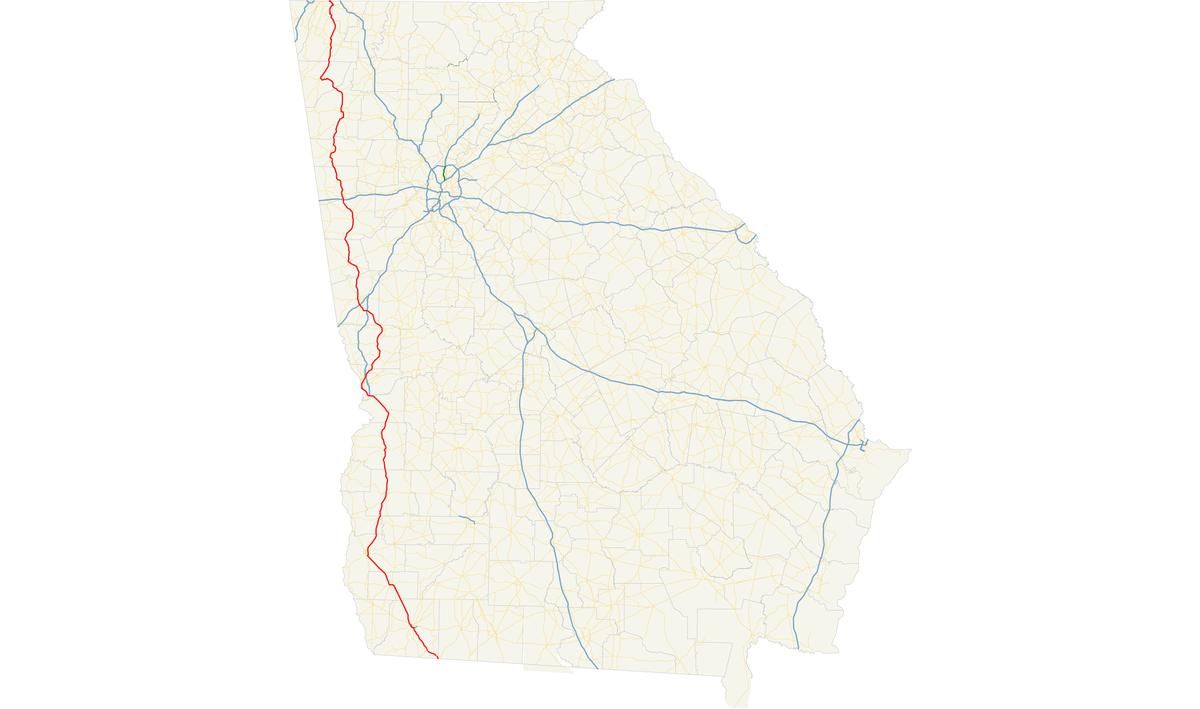 US Route  In Georgia Wikipedia - Us highway map of georgia