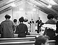 Gerald Hughes, Cleveland School Teacher, Leads the Lee Heights Community Church (Cleveland, Ohio) Congregation in Song, 1960 (16458543170).jpg