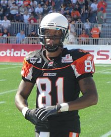 Geroy Simon wearing the BC Lions  black third jersey in 2011. 609416a0e