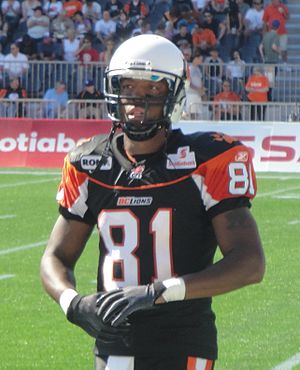 Third jersey - Geroy Simon wearing the BC Lions' black third jersey in 2011.
