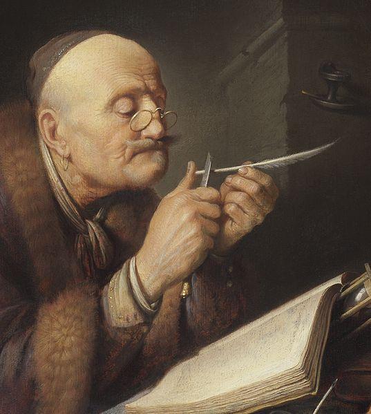 File:Gerrit Dou - Scholar sharpening a quill pen.jpg
