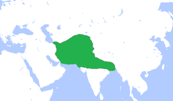 Map of the Ghurid dynasty at its greatest extent under Ghiyath al-Din Muhammad