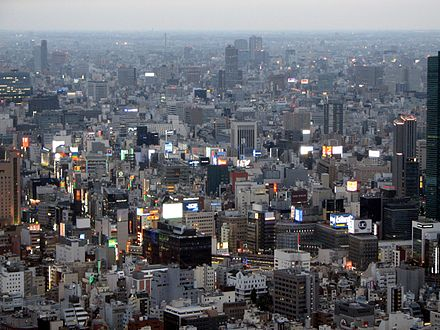 Greater Tokyo Area, Japan, the world's most populated urban area, with about 38 million inhabitants Ginza area at dusk from Tokyo Tower.jpg