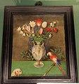 Giovan battista stefaneschi (attr.), vaso con mascehrone, tulipani, fiori di campo, pappagallo e cagnolino, 1600-50 ca..JPG