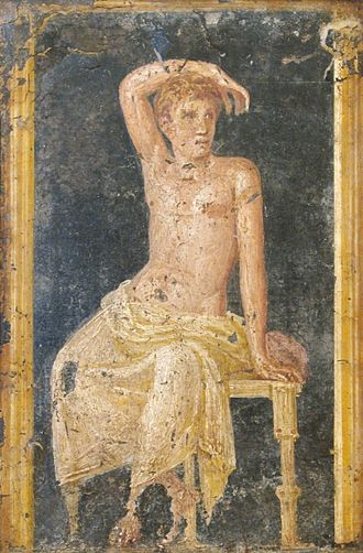 Fresco - A Roman fresco of a young man from the Villa di Arianna, Stabiae, 1st century AD.