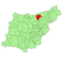 Location in Spain, in the province o Gipuzkoa