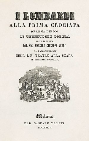 I Lombardi alla prima crociata - Title page of an 1843 libretto of I Lombardi