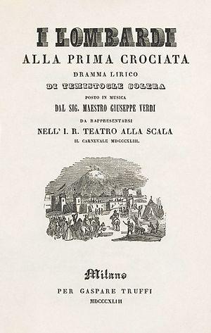 I Lombardi alla prima crociata - Title page of an 1843 libretto of I Lombardi