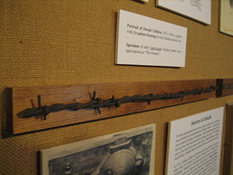 "Barbed wire - An early handmade specimen of Glidden's ""The Winner"" on display at the Barbed Wire History Museum in DeKalb, Illinois."