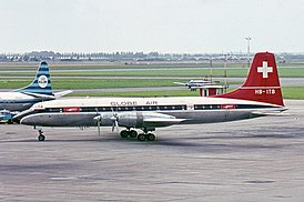 Globe Air Bristol 175 Britannia 313 at Schiphol.jpg