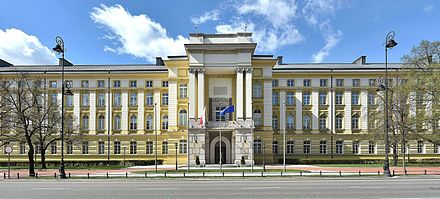 The Chancellery, located along Ujazdow Avenue in Srodmiescie, Warsaw, is home to the premier's executive office and support staff. Gmach Kancelarii Prezesa Rady Ministrow kwiecien 2017.jpg