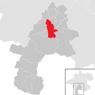 Location of the municipality of Gmunden in the Gmunden district (clickable map)