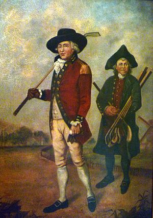 Caddie - A golf caddie depicted in a late-18th-century painting. Artist unknown.