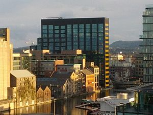 Grand Canal Dock - View of the Google Docks (Montevetro) building from the roof of The Marker Hotel