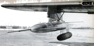 Ramjet - The Gorgon IV mounted on the wing of a P-61 Black Widow in preparation for flight testing