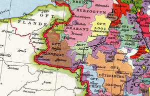 Battle of Worringen - Lower Lorraine territories about 1250, Brabant and Limburg in pink